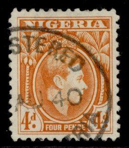 NIGERIA GVI SG54, 4d orange, FINE USED.