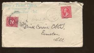 1898 Trinidad Colorado Blair's Ticket Office Advertising Cover