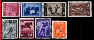 94964a - ROMANIA - STAMP - Yvert # 512-22 MNH  Sports FOOTBALL hunting ROWING