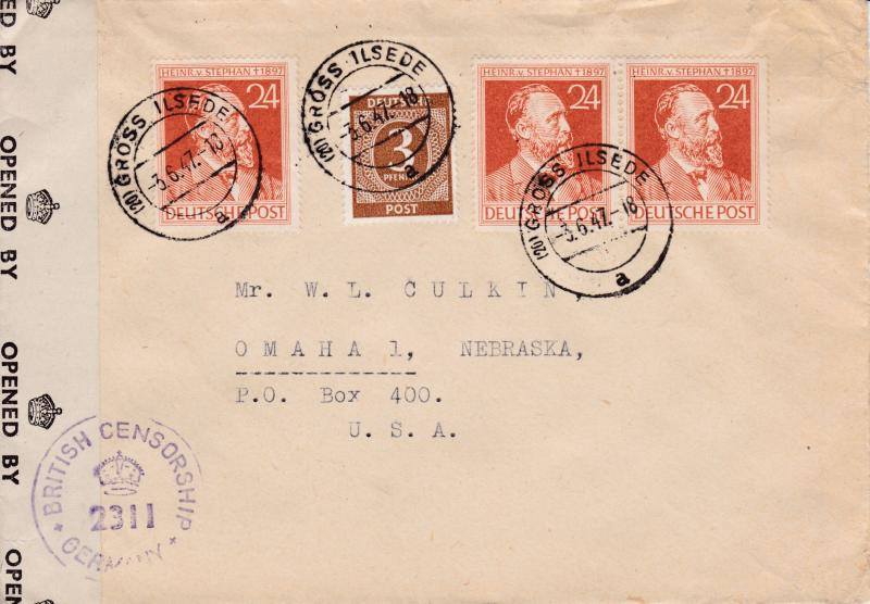 Germany 1947 Censored Cover from British Zone to USA. VF