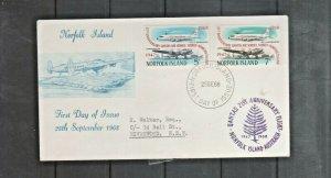 Norfolk Island 1968 21st Ann QANTAS Air Service 5c & 7c Pair Flight Cover FDC  G