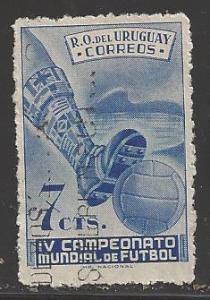 Uruguay 1951 7c Football, Scott #583, used