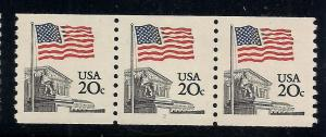 #1895 Coil Stamps - Strip of 3 - Plate#2 - O.G. - N.H.