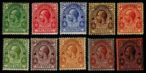 1913-16 Turks & Caicos Islands #25-26 & 28-35 - OGHR - Fine+ - CV$55.25 (E#3338)