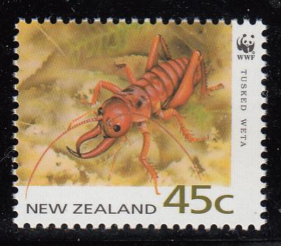 New Zealand 1993 MNH Scott #1163 45c Tusked weta WWF
