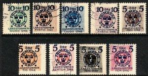 1916 Sweden Semi-postal full used set to support Militia Sc B12 // B20 CV $246