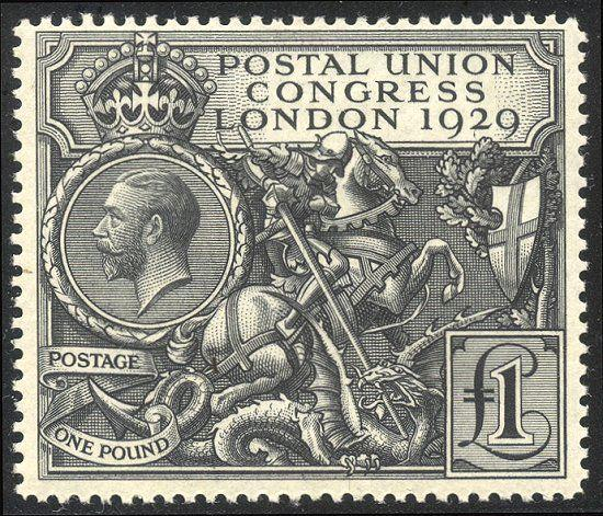 GREAT BRITAIN #209 Mint LH - 1929 £1 UPU, Black