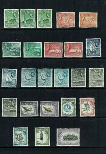 Aden: 1953 Queen Elizabeth definitive set, includes most of listed shades, Mint