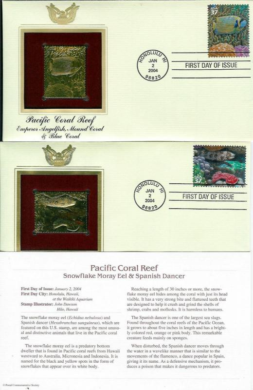 Pacific Coral Reef SET OF 10 22k GOLD FDCs Hawaii Fish Eels