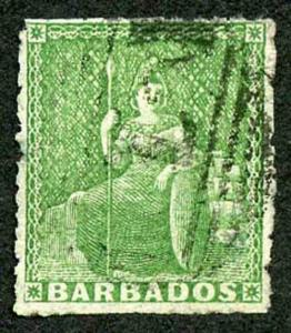 Barbados SG13 (1/2d) Yellow green No Wmk Pin-perf 14 Fine Used