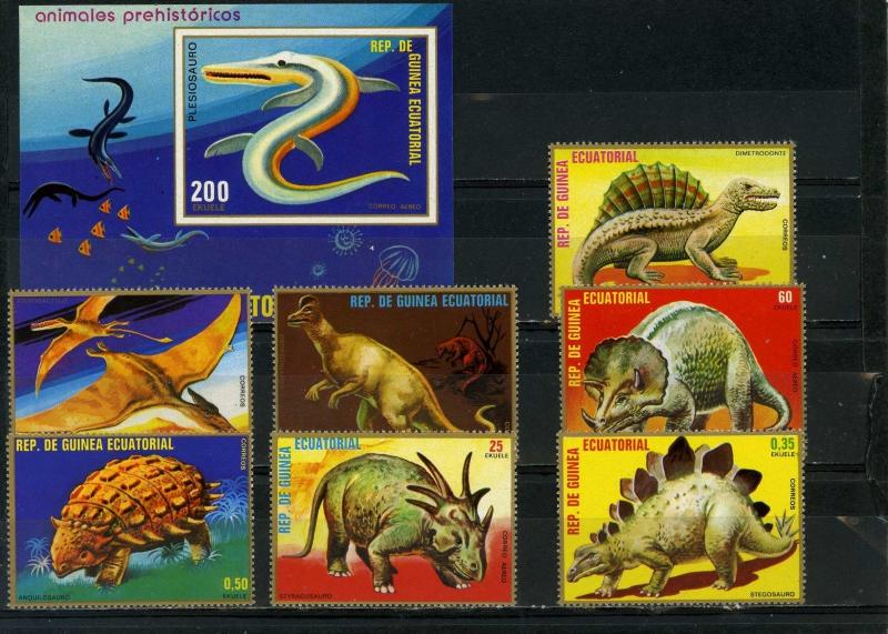 EQUATORIAL GUINEA PREHISTORICAL ANIMALS/DINOSAURS SET OF 7 STAMPS & S/S MNH