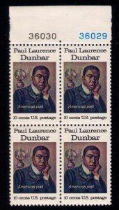 US Sc #1559 MNH , OG Paul Dunbar Issue 10c PL # Block Of Four VF