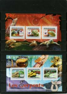 GUINEA 2011 REPTILES 2 SHEETS OF 3 STAMPS MNH