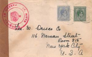 St. Kitts Nevis, Scott #79 and 83, Used on Censored Cover to New York