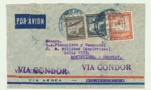 CHILE TO URUGUAY 1939 CONDOR FLIGHT COVER, 5p70c RATE (SEE BELOW)