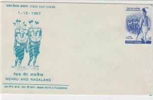 India 1967 Nehru & Nagaland UNUSED F.D.C. Stamps Cover ref R 18025