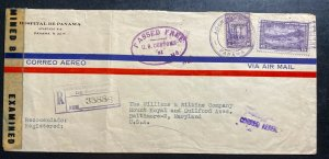 1945 Panama Hospital Censored Airmail Cover to Baltimore MD USA