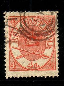 Denmark Sc 13 1864 4 sk red Royal Emblems stamp used