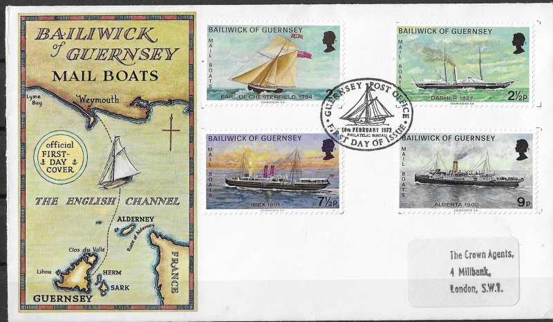 Guernsey FDC Mail Boats 1972 4 Stamps