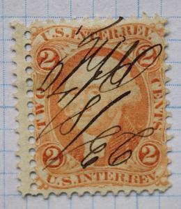 USIR R15 US IR Revenue Orange 2c Washington Stamp used Misperf EFO Double perf
