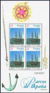 Spain 2884a-2885a,MNH.Michel Bl.68-89. Sailing ships 1997.Frigate,Brigantine.