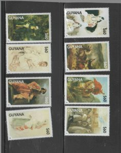 GUYANA #3357a-h  1998 PAINTINGS BY DELACROIX   MINT  VF NH  O.G