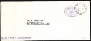 NORFOLK IS 1974 Official mail cover to Australia...........................97417