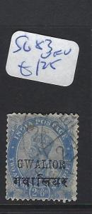 INDIA GWALIOR   (P2807B)    KGV   2A 6P   SG 83   VFU