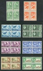 SARAWAK SG204/11 1964-65 Wmk w12 set of 8 in blocks of 4 U/M (4)
