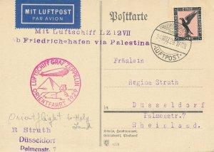 Card Zeppelin 1929 Airship Germany USA LZ 127 Orientfahrt Palestine Palestina