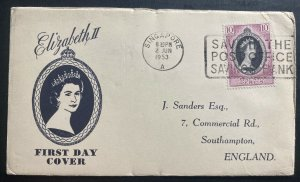 1953 Singapore first day cover to England Queen Elizabeth II Coronation QE2 A