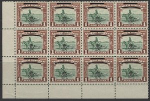 NORTH BORNEO SG335/c 1947 1c ONE WITH LOWER BAR BROKEN AT LEFT IN MNH BLOCK 12