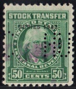 RD125 50¢ Revenue: Stock Transfer (1942) Perfin