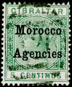 MOROCCO AGENCIES SG9, 5c green, USED.