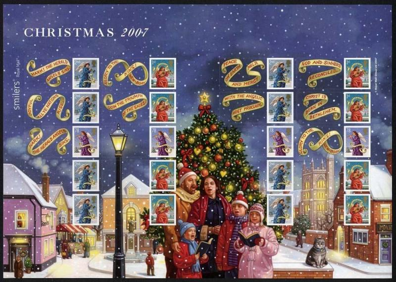 GB QEII Smiler  2007 LS42 CHRISTMAS,1st,2nd class decimal  MNH CONDITION.