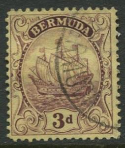 Bermuda - Scott 89 - Caravel - Wmk 4 -1928 - VFU -Single 3p Stamp