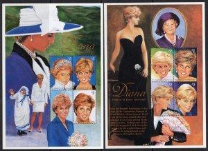 St.vincent 1997 PRINCESS DIANA MOTHER TERESA 2 Mini Sheets Perforated Mint (NH)