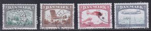 Denmark # 696-699, Old to Modern Airplanes, Used, 1/2 Cat.