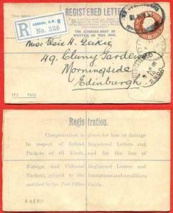 RP28a KGV 3d Registered Envelope Size F Flap 6 Letterpress KJ under Flap