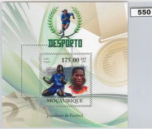 550 - MOZAMBIQUE - ERROR  2010 MISPERF stamp SHEET:  Drogba, Footbal, Chelsea,
