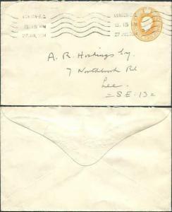 ES45 KGV 2d Orange Stamped to Order Envelope Used