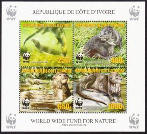 Ivory Coast WWF Speckle-throated Otter Souvenir Sheet perforated reprint