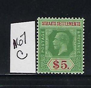STRAITS SETTLEMENTS SCOTT #167C  GEORGE V DIE II-  WMK 3-$5 (GREEN/RED) MINT NH