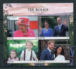 Nevis 2017 MNH Royals Queen Elizabeth Prince William Harry 4v M/S Royalty Stamps