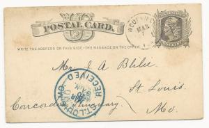 US POSTAL STATIONERY COVER Woodville, IA DPO 1866-1887 Postal Card