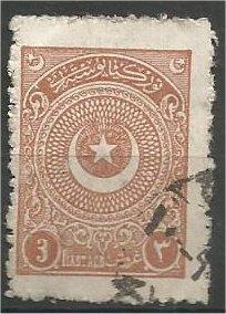 TURKEY, 1923, used 3pi, Crescent and Star, Scott 610