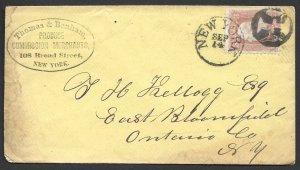 Doyle's_Stamps: New York City Postal History Cover w/Fancy Negative Cross