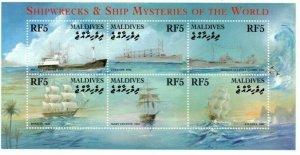 Maldives MNH S/S Shipwrecks & Mysteries Of The World