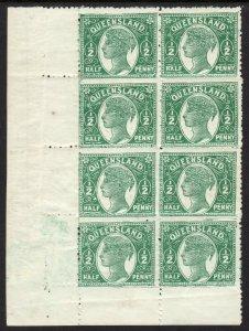 1890 - 1892 Australia Queensland QV ½penny perf 12½ Wmk 68 swys MNH Sc# 89 BLK 8