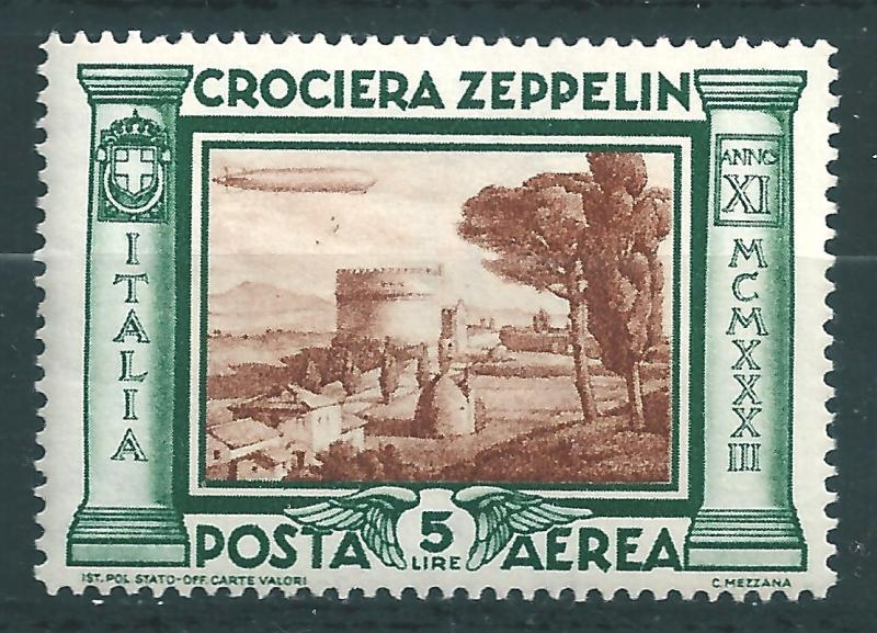 IITALY : T052  -  1933 air mail ZEPPELIN 5 L. - very leight hinged